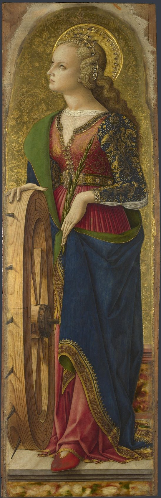 Carlo Crivelli (1435 – 1495) | Polyptych of San Domenico. Saint Catherine of Alexandria (detail). National Gallery, London.