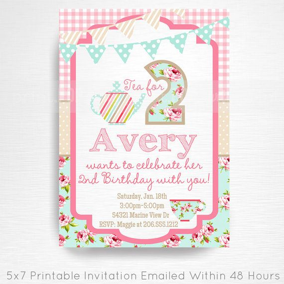 Tea Party Printable Invitation YOU Print Tea for Two Pink Blue Floral  This is an emailed file, nothing will be shipped to you. Can be customized