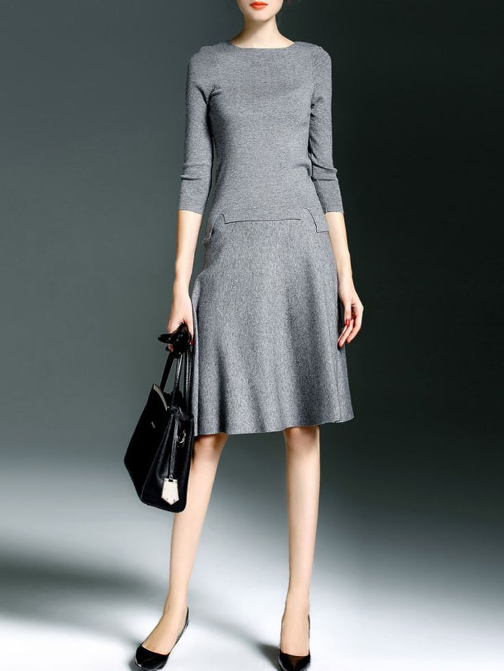 Gray Sleeve Two Piece Sweet Knitted Wool Blend Midi Dress