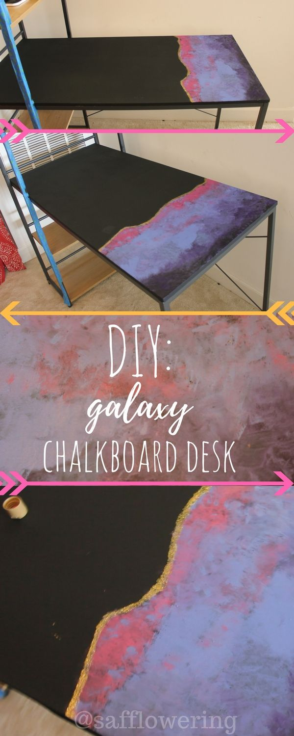 HOW TO MAKE YOUR OWN GALAXY CHALKBOARD DESK!!!