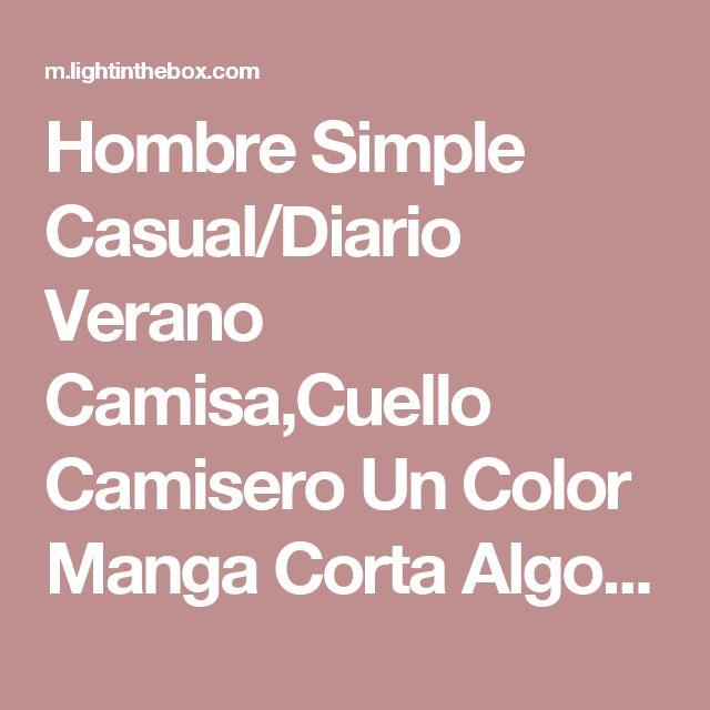 Hombre Simple Casual/Diario Verano Camisa,Cuello Camisero Un Color Manga Corta Algodón Rayón Azul Fino 2017 - $14.99