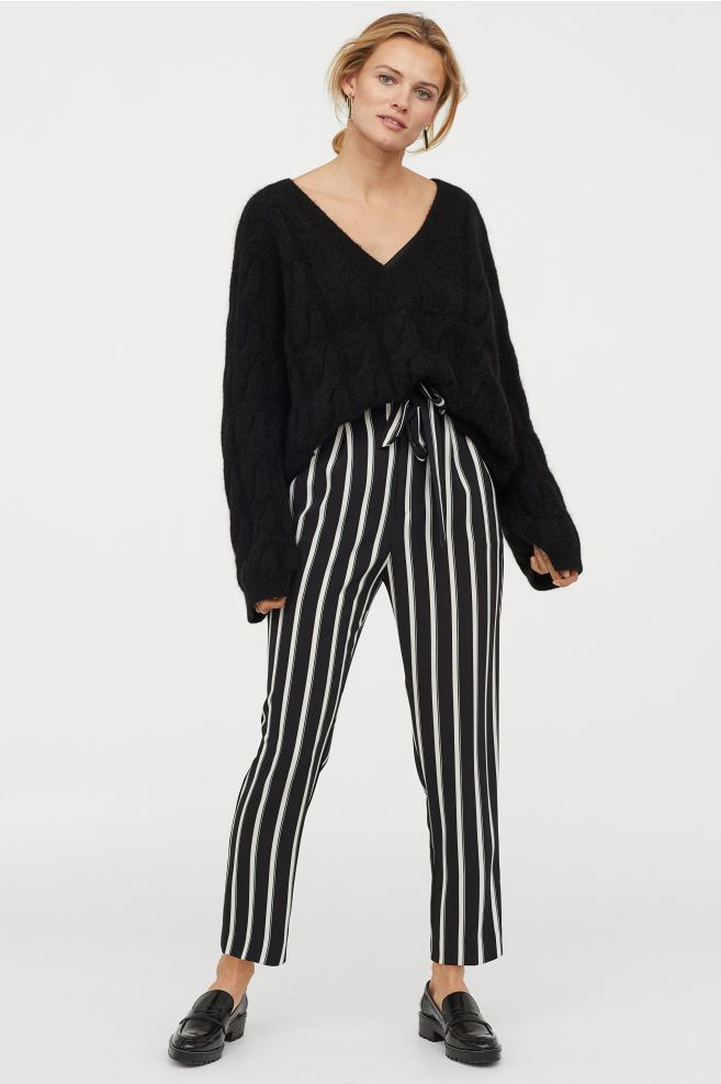 Girly HandBags Black And White Stripe Trousers