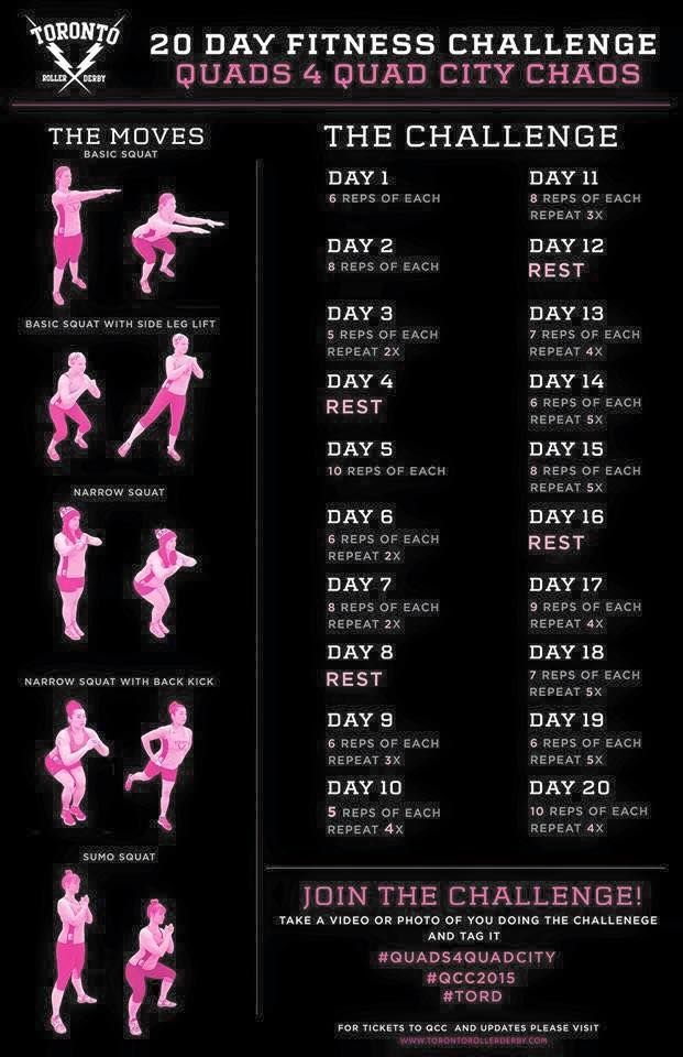 Toronto Roller Derby's 20 day fitness challenge. Recommended for better derby…