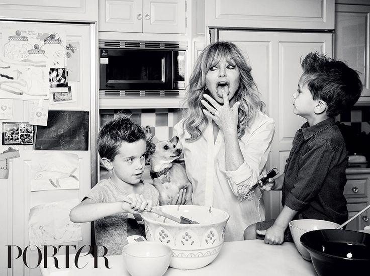 Goldie Hawn Poses With Her Grandsons in Porter Magazine and Explains Why She Never Married Kurt Russell  Goldie Hawn, Porter Magazine