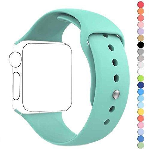 Apple Watch Band HuanlongTM New Soft Silicone Sport Style Replacement Iwatch Strap for Apple Wrist Watch (Mint Green 38mm S/M)