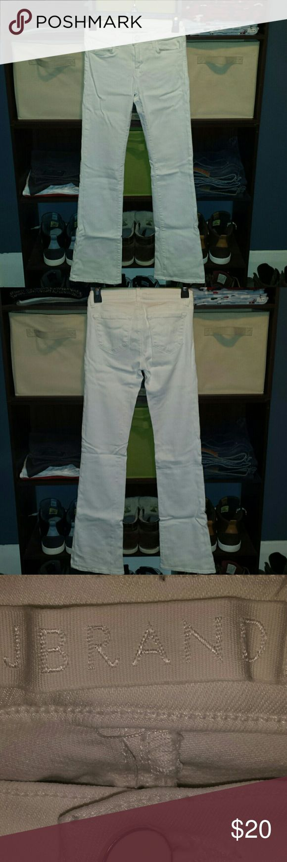 J Brand White Stretch Jeans Curve hugging J Brand stretch flare jeans size 25. Would bundle great with black and silver jewelry listed for sale! Perfect with sandals or heels in the summer! Will iron and steam before shipping!! 31 inch inseam. Accessories not included. J Brand Jeans