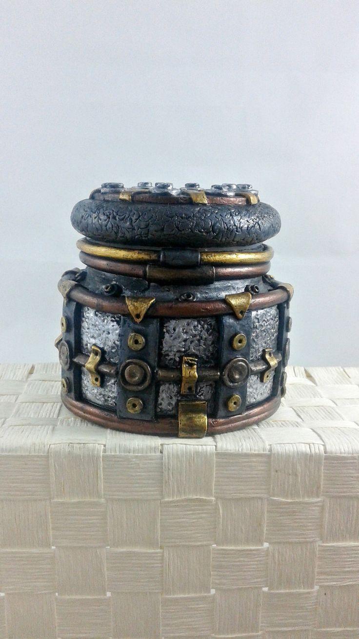Steampunk Stash Jar - polymer clay industrial jar