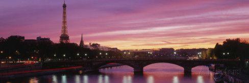 Sunset, Romantic City, Eiffel Tower, Paris, France Wall Decal