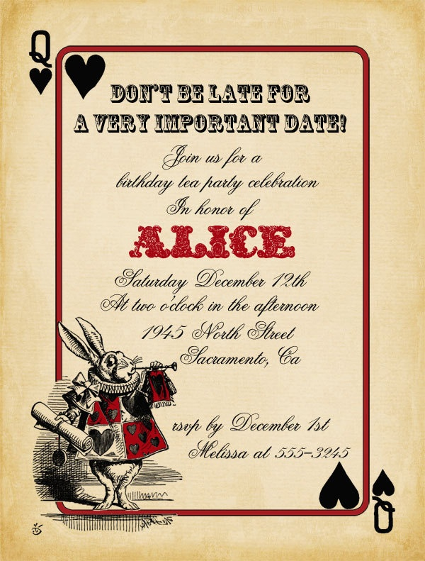 Alice In Wonderland Bridal Shower Invitations is an amazing ideas you had to choose for invitation design