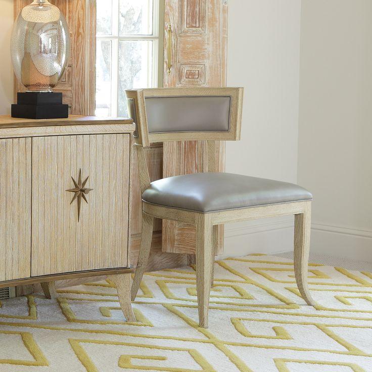"Global Views Klismos Grey Leather Chair @Zinc_Door 26""W x 25""D x 34""H Sandblasted solid American White Oak Leather"
