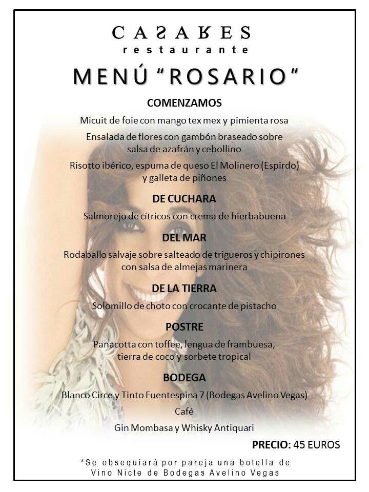 Menú Rosario para el 18 junio 2016...reserva ya en www.restaurantecasares.com