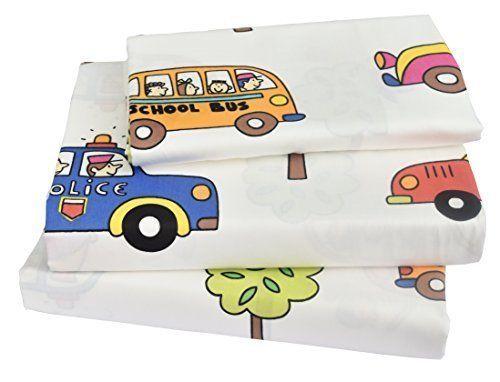 Kids Boy Girl Cartoon School Bus Police car Fire engines Cotton Twin Bedding Set #Jpinno
