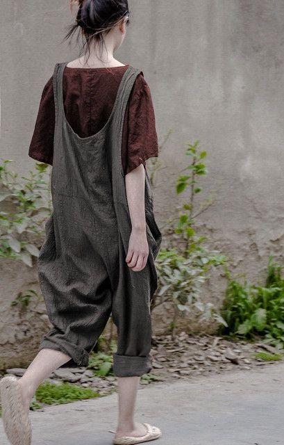 Bohemian Hippie Boho Loose Vintage Cotton Linen Overalls Vrouwen Palazzo Haren Baggy Pants Women Capri Trousers Novelty Clothing