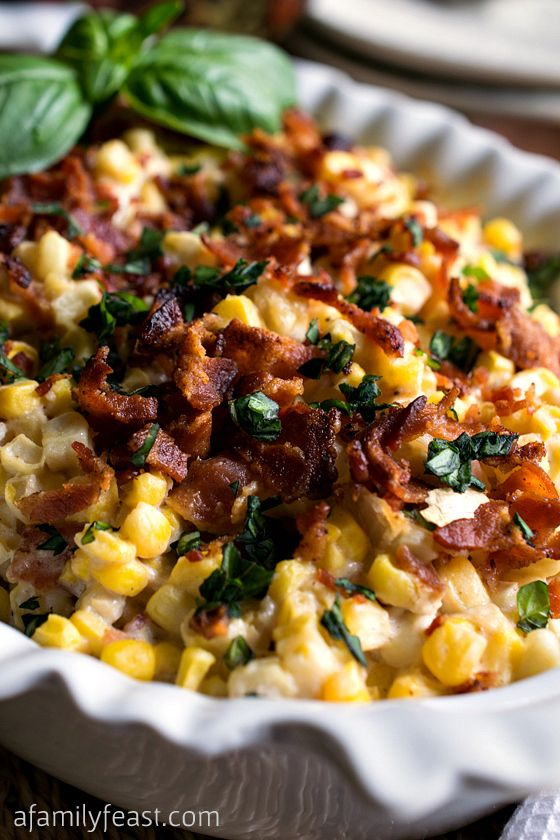Corn and Bacon Casserole - Fresh corn kernels and bacon in a light and creamy sauce that has been flavored with garlic and basil