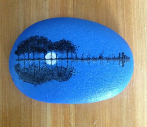 Lakeside woods reflection, moon, guitar - painted rock
