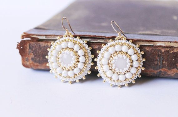 White Beads Earrings White Dangle Earrings Bead embroidery Earrings Embroidered Jewelry White Jewelry White Gold Bridal Jewelry Gift for her