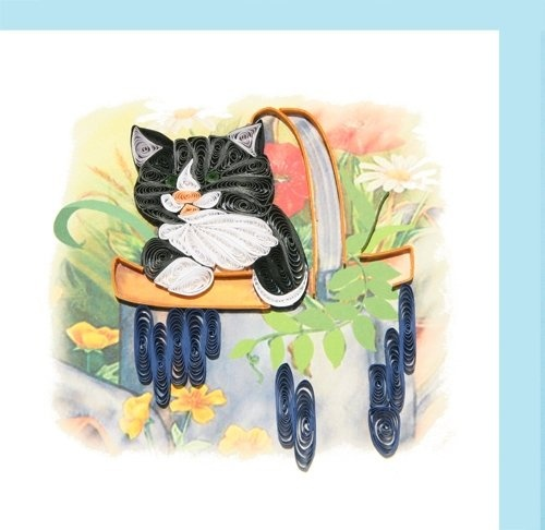 Quilled Black and White Cat in Basket - by:   squidoo.com