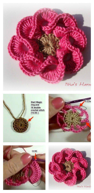 How To Crochet 3d Flowers With Multi Petals Crochet Pinterest
