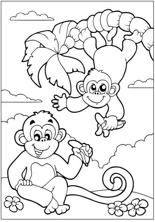 Mooie apenkleurplaat van www.voorleesaap.nl