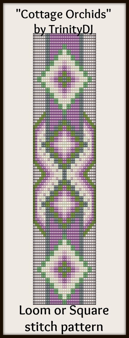 """New Loom or Square Stitch Bracelet Pattern """"Cottage Orchards"""" now available as direct download and/or kit. Please follow this link for more info - http://cart.javallebeads.com/Cottage-Orchards-Loom-or-Square-Stitch-Pattern-p/td124.htm"""