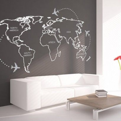 World Map Outlines With Continents Sticker - Moon Wall Stickers