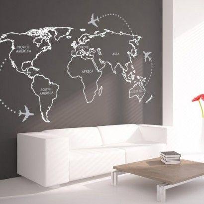 Mapa Mundo em Contornos vinil decorativo - Casadart.pt