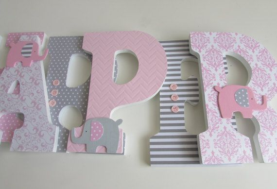 Harper 9 Inches elephant theme pink and gray by Adorablekidsdecor