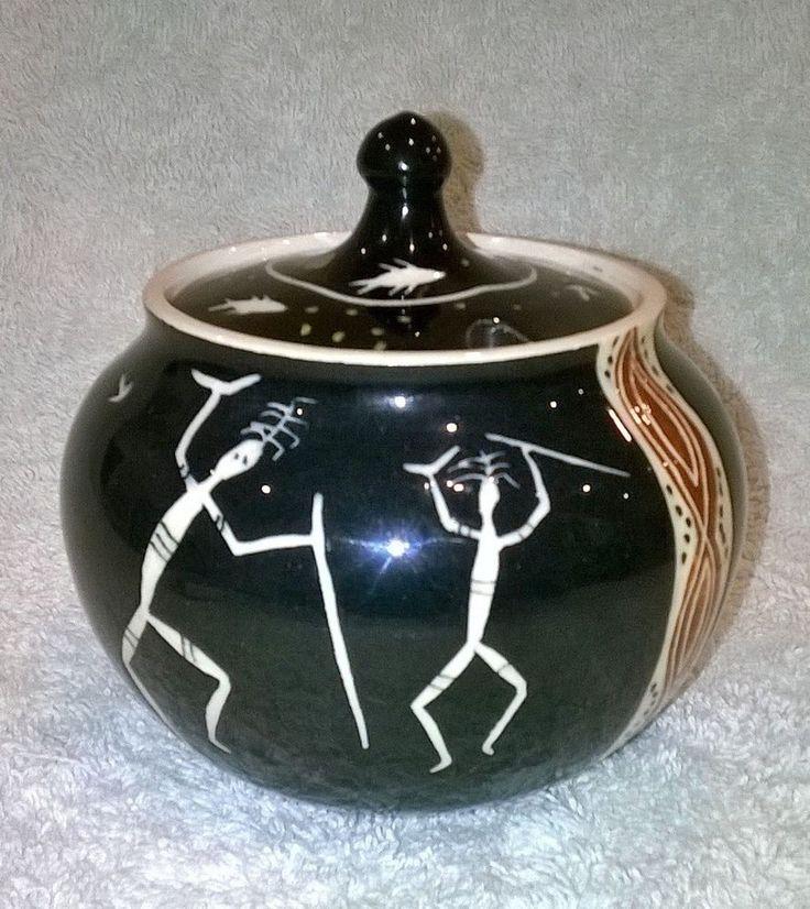 Martin Boyd Sugar Bowl - Incised Aboriginal Motifs - Australian Pottery