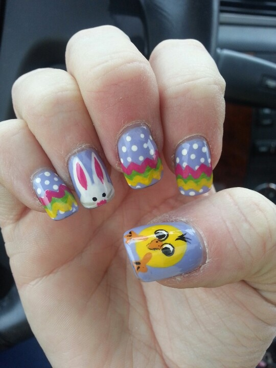 Easter nail art- kesha is amazing-love her check out www.MyNailPolishObsession.com for more nail art ideas.