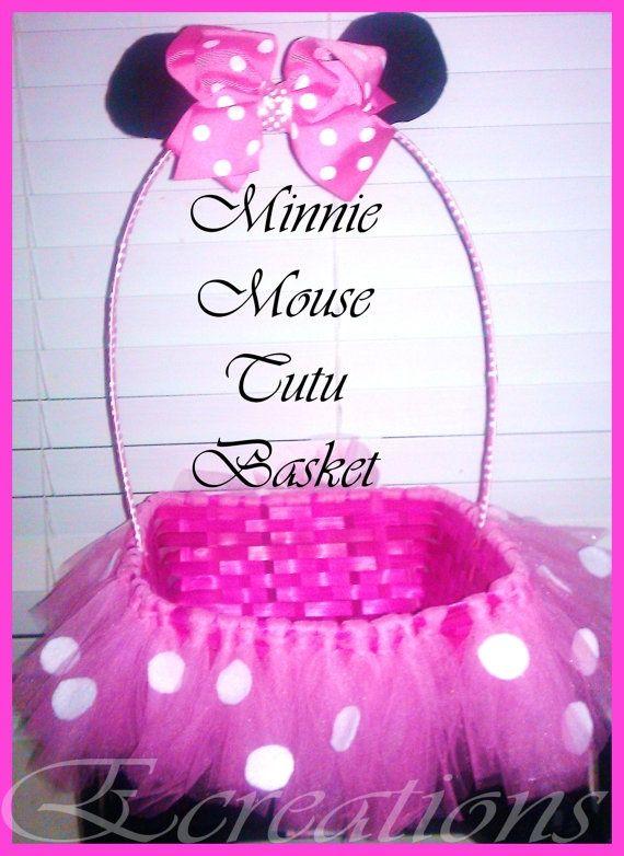 Minnie mouse Tutu basket by EcreationsTutique on Etsy, $20.00