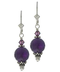 @Overstock.com - These fine earrings from Charming Life feature amethyst, known as the stone of spirituality and contentment. The dangle earrings are crafted of sterling silver and feature purple Swarovski crystals and Balinese accents.http://www.overstock.com/Jewelry-Watches/Charming-Life-Sterling-Silver-Amethyst-and-Crystal-Earrings/2469145/product.html?CID=214117 $19.34