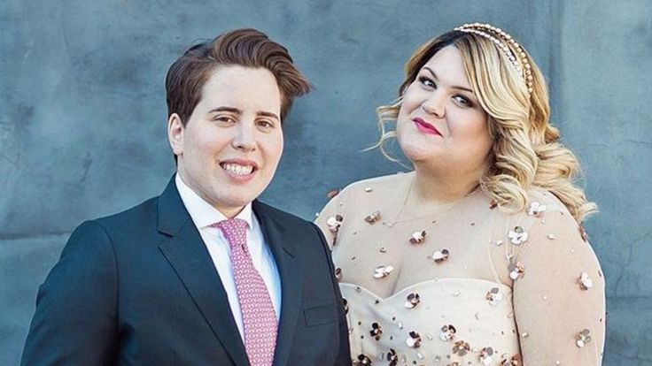 http://www.revelist.com/body-positive/plus-size-brides-dresses/957/When Nicolette Mason announced her engagement, I predicted two things: the dress would be pink and the dress would be sparkly. BINGO! Mason's dress is a custom design by her BFF, Christian Siriano./11