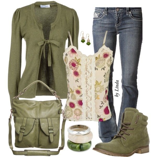 Olive Green Fall Outfit | My Style | Pinterest | Polyvore Clothes And Olive Green Cardigan