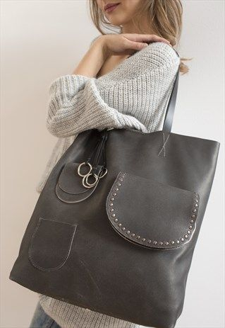 KULIK+-++Leather+Tote+bag+with+pockets+-Vintage+Sugar+Tot
