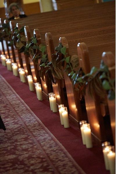 Church Aisle Decor Candles And Garland