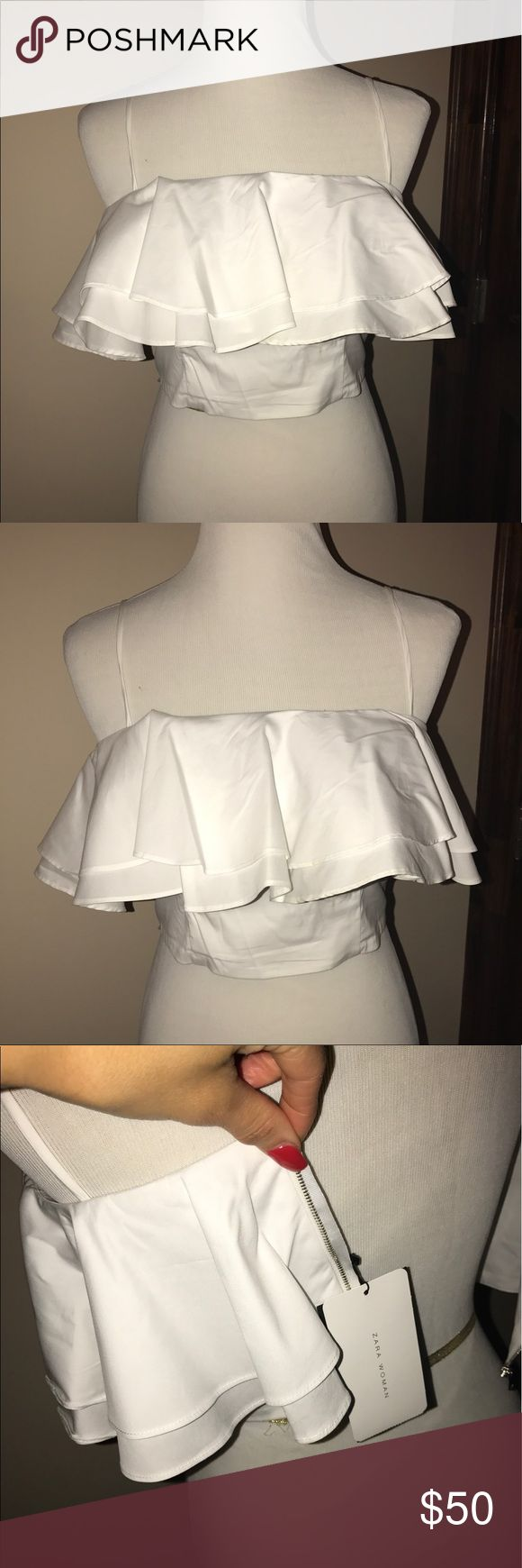 NWT Zara Crop Top with Double Ruffle Detail Size small.  New with tags.  Spaghetti straps.  Zip back.  Double Ruffle overlay. Zara Tops Crop Tops