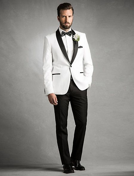 Add after-dark sophistication by slipping on this satin shawl neck blazer. #groom #groomsmen