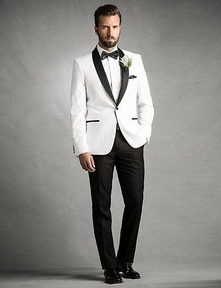 Add After Dark Sophistication By Slipping On This Satin Shawl Neck Blazer Groom Wedding Blazerswedding Suitswedding Tuxedoswhite