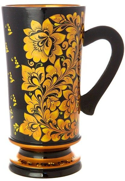 A wooden mug decorated with folk Khokhloma painting from Russia. #Russian #folk #art