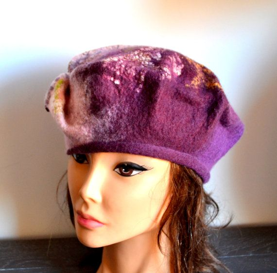 Felted hat, berett , wool, felting, silk , pink , violet , plum ,  nuno felt