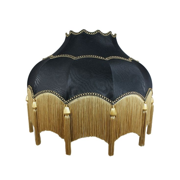 <p> Striking Scalloped Lampshade in Black with fringe and tassel…