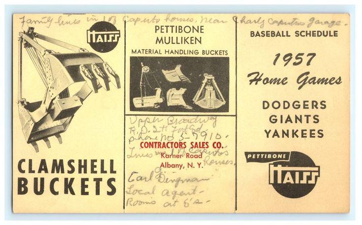1957 Yankees Dodgers Giants Schedule Pettibone Mulliken Albany NY Advertising