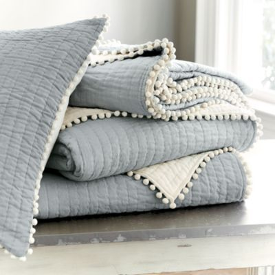 Audree Pom Pom Quilt - Spa | Ballard Designs: Pompom, Quilts Beds, Pom Quilts, Pom Trim, Audre Pom, Master Bedrooms, Guest Rooms, Pom Pom, Ballard Design