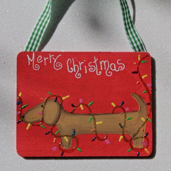 Dachshund Christmas Tree Ornament Dog Tangle in by MaxMinnieandMe, $10.00