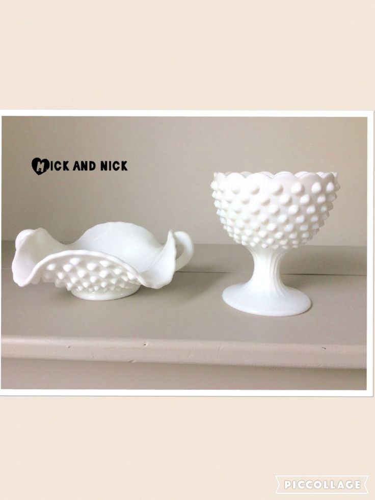 Pair of White Vintage Hobnail Candy Dishes by MickandNick on Etsy