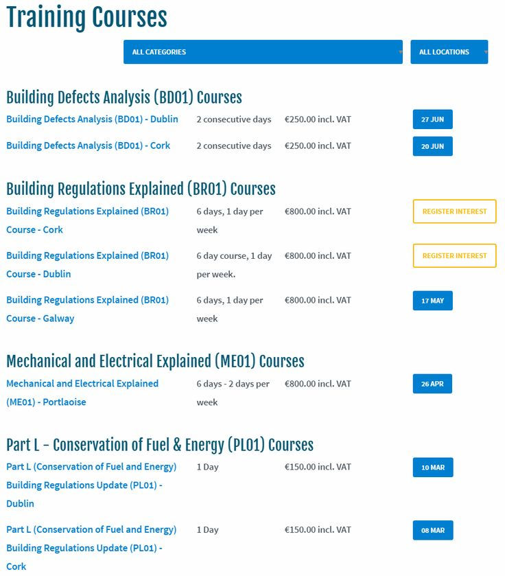 Course Schedule - https://www.homebond.ie/