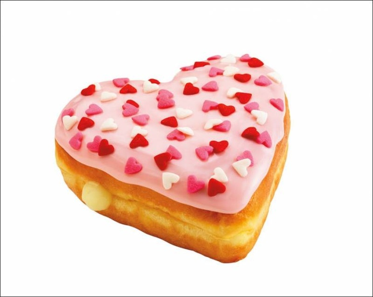 This donut in heart shape was introduced by the famous donut brand dunkin' donuts on Valentines day. It has cute heart shaped sprinkles in pink, red and white colour over pink icing.