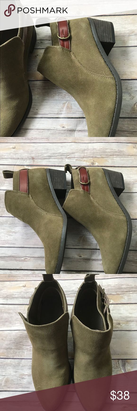 NWOT American Eagle Outfitters Buckle Strap Bootie Olive Green Boot Excellent New Condition Without Flaws American Eagle Outfitters Shoes Heeled Boots
