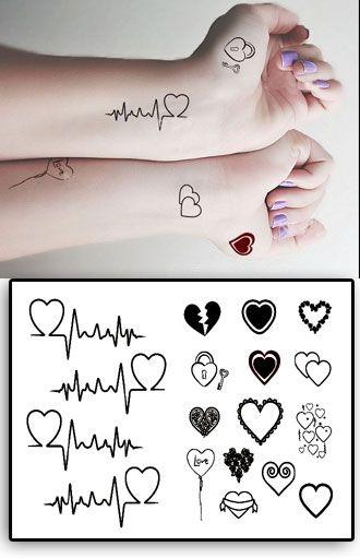 Tatouages Temporaires Coeurs et Clefs