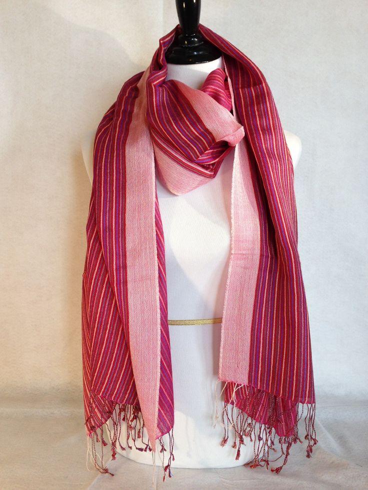 Kashmir Cotton Pashmina - Red Stripe